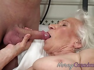 Busty grandma jizzed on