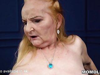 Big belly mature takes a big..