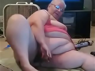 Granny have fun with her toys