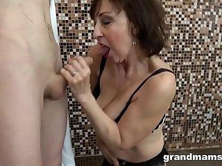 Horny granny fucks step..