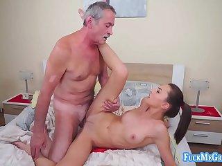 Slutty bitch gives old perv..