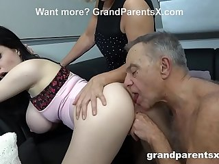 Old Couple Teaches Teen Maid..