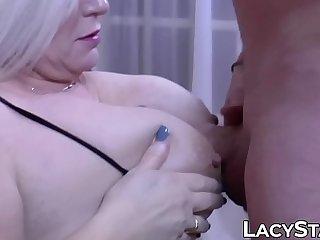 Granny shoves big cock..