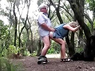Old couple fucking outdoors