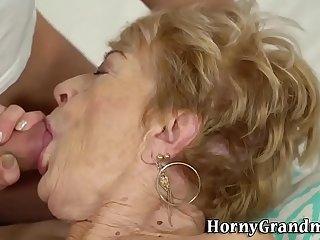 Wrinkly grandma gets banged..