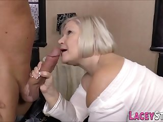 Busty granny sucks and gets..