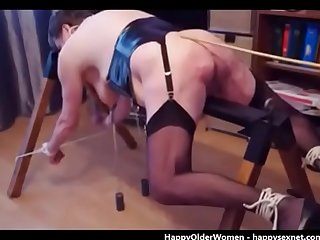 Beating submissive granny