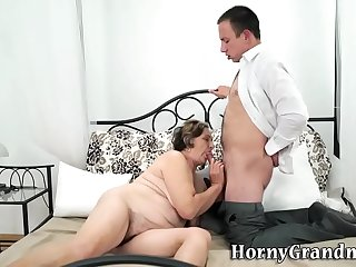 Gran with hairy pussy sucks..