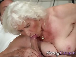 Old granny gets jizzed after..