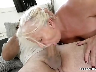 Old blonde slut in vigorous..