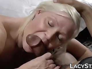Cocksucking Brit GILF gets a..