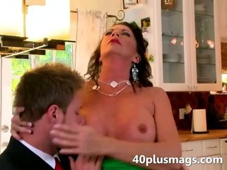 Nasty mom seduces a younger..