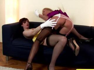 Mature stockings lesbian..