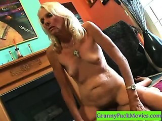 Old hairy slut doing a..