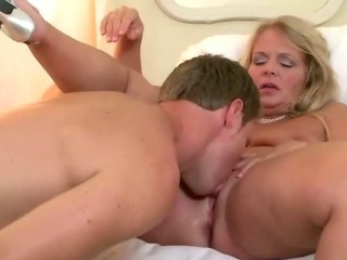 Plump blonde housewife with..