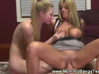 Mommy teaches boy how to..