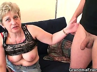 Nasty granny plays with her..