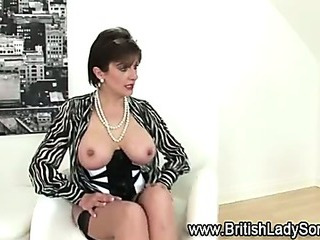 Mature lingerie slut poses