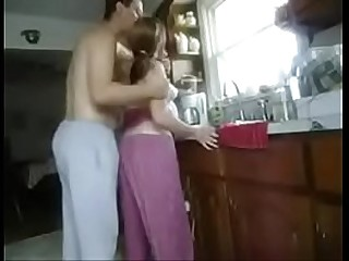 Fucking mom son in kitchen..