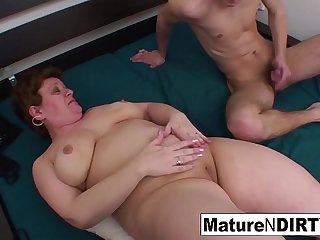 Chubby granny gets a cock in..
